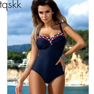 a001e83c3be33 TQSKK One Piece Swimsuit 2019 New Swimwear Women Retro Striped Female  Swimsuit Sexy Summer Dot Beach Wear Bathing Suit Monokini
