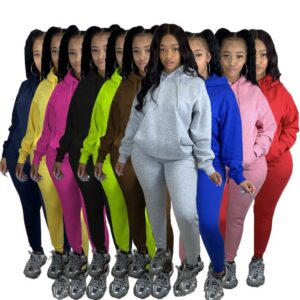 CM.YAYA Fashion Women Two Piece Set Hooded Sweatshirts Pencil Jogger Sweatpants Suit Tracksuit Fitness Outfit Matching Set