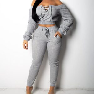 Off Shoulder Jumpsuits Fashion Long Sleeve Running Sets Pullover Outfits Sweatpants 2 Piece Sports Running Suits Gym Sportswears