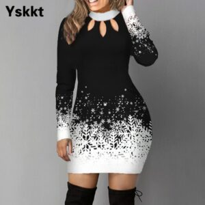Christmas Bodycon Dress Women Winter Long Sleeve Dress Red Black Spring Autumn Casual Woman Dot Print Cotton Dresses S M L XL