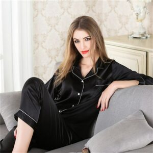 Women's Pajamas Home Service Suit Ladies Loose Casual Solid Color Cardigan Long-Sleeved Quality Simulation Silk Pajama Set