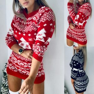 40# Women Sweater Dress O Neck Elk Snowflake Christmas Navidad Xmas Pullover Dresses Knit Mini Dress Sweater Knitted Dresses