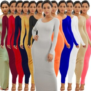 Colorful Long Sleeve O Neck Stretchy Long Dress 2020 Spring Autumn Women Solid Casual Elegant Robe Bodycon Maxi Dresses Vestidos